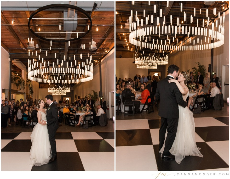 A newlywed couple share their first dance during an elegant wedding at Canvas Event Space in SODO, Seattle, WA. | Joanna Monger Photography | Snohomish & Seattle Wedding Photographer