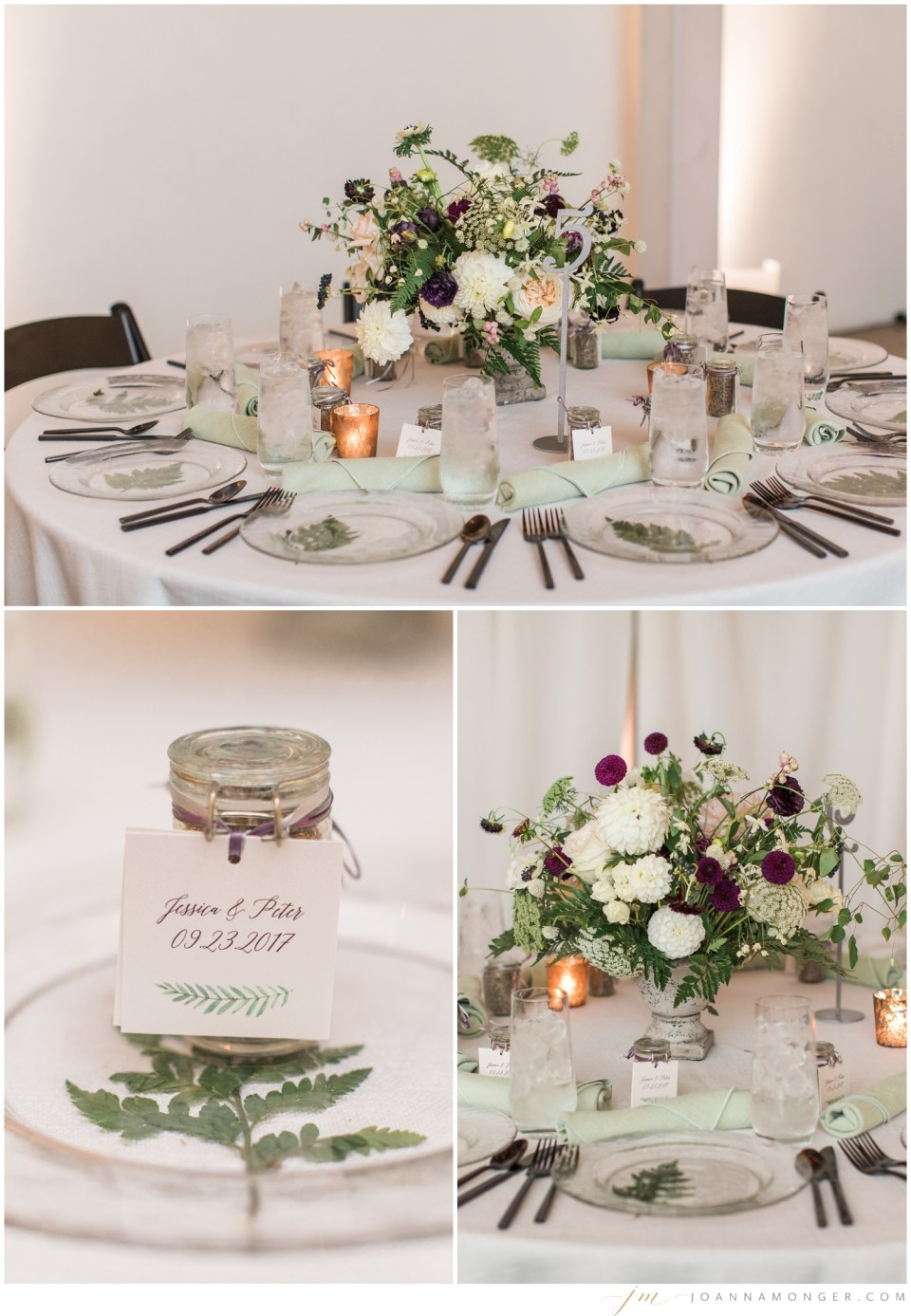 Photos of the tablescape of an elegant wedding at Canvas Event Space in SODO, Seattle, WA. | Joanna Monger Photography | Snohomish & Seattle Wedding Photographer