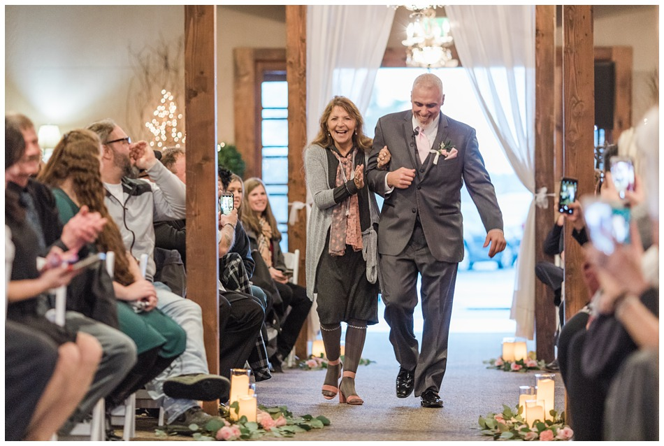 A groom walks down the aisle before the ceremony of his special winter wedding at Hidden Meadows, a wedding venue in Snohomish near Seattle, WA. | Joanna Monger Photography | Snohomish & Seattle Wedding Photography