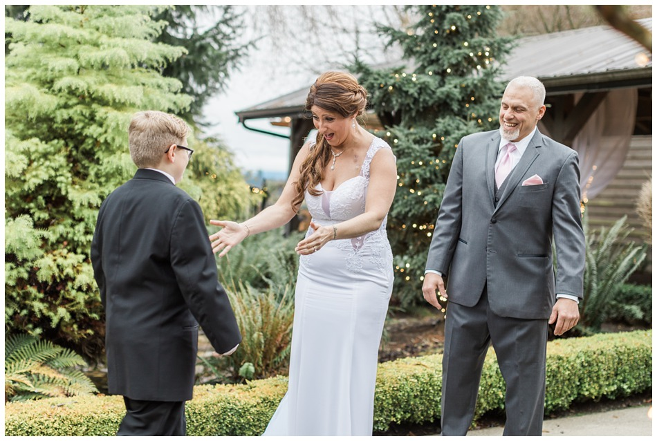 Photos of a bride and groom's first look from a a special winter wedding at Hidden Meadows, a wedding venue in Snohomish near Seattle, WA. | Joanna Monger Photography | Snohomish & Seattle Wedding Photography