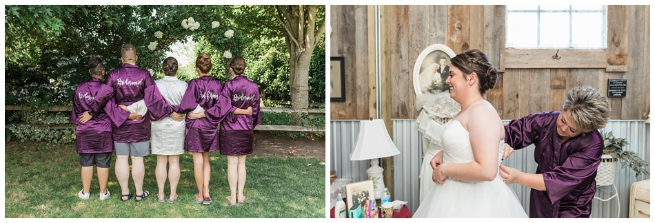 Photo of bride getting ready with bridesmaids for a rustic barn wedding at Craven Farms in Snohomish, a wedding venue near Seattle. | Joanna Monger Photography