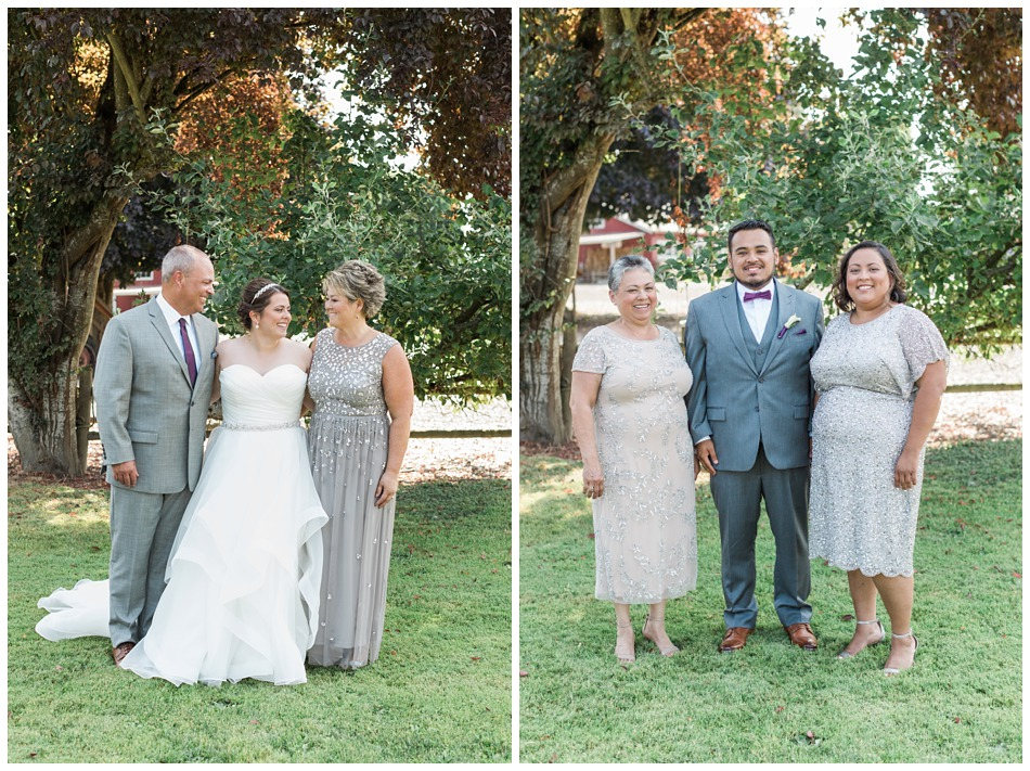 Photo of bride and groom with family for a rustic barn wedding at Craven Farms in Snohomish, a wedding venue near Seattle. | Joanna Monger Photography