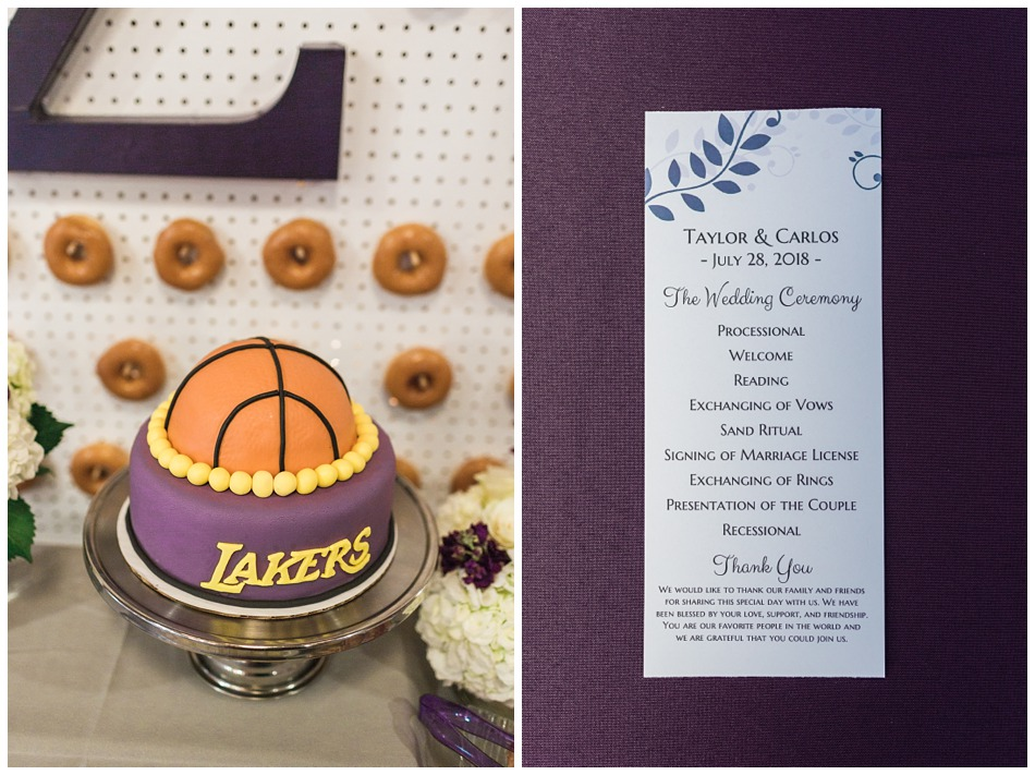 Photo of custom Lakers wedding cake at a rustic barn wedding at Craven Farms in Snohomish, a wedding venue near Seattle. | Joanna Monger Photography