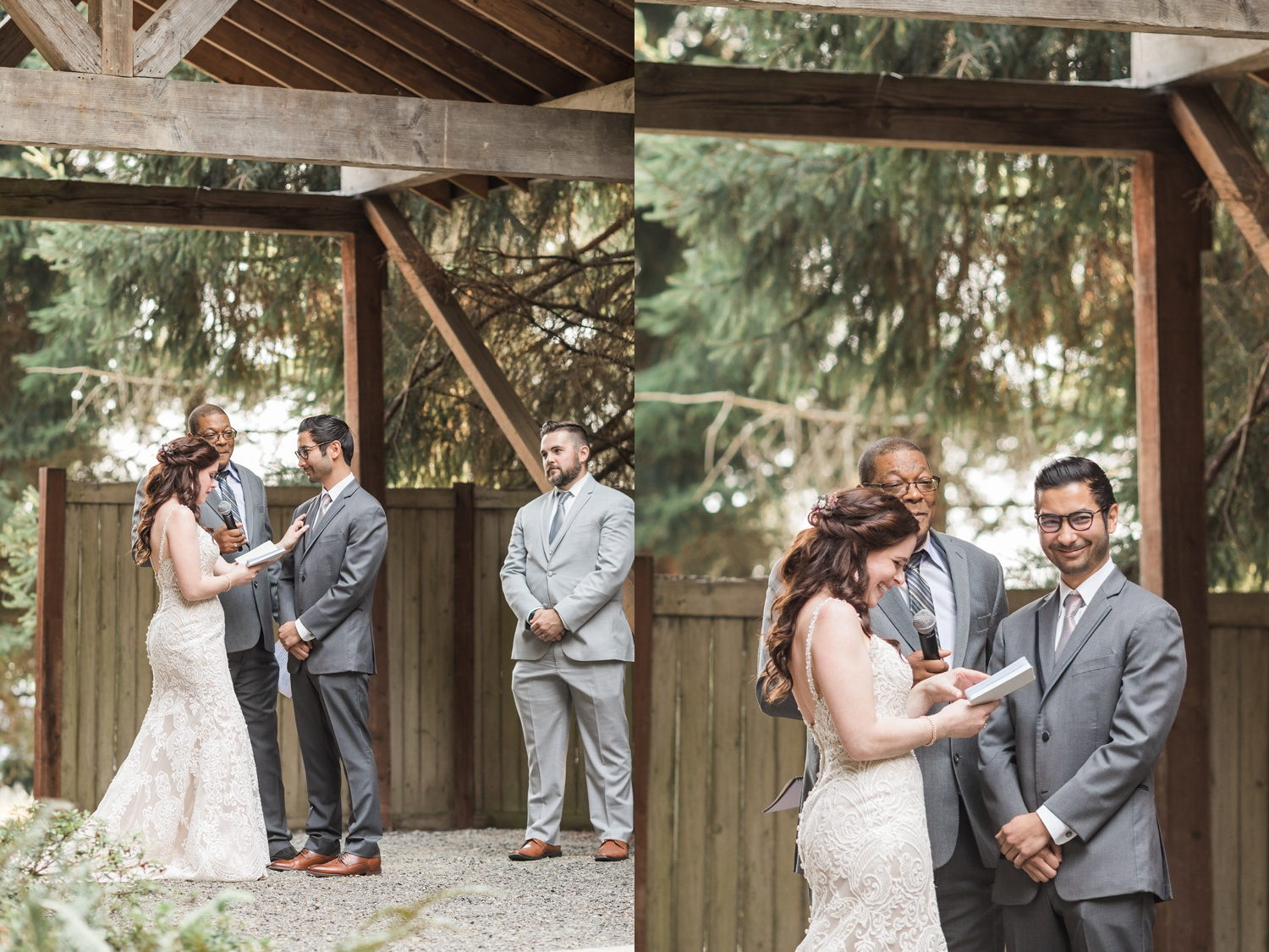 A bride reads her vows during her wedding ceremony at Woodland Meadow Farms in Snohomish, a wedding venue near Seattle, WA. | Joanna Monger Photography | Seattle & Snohomish Photographer