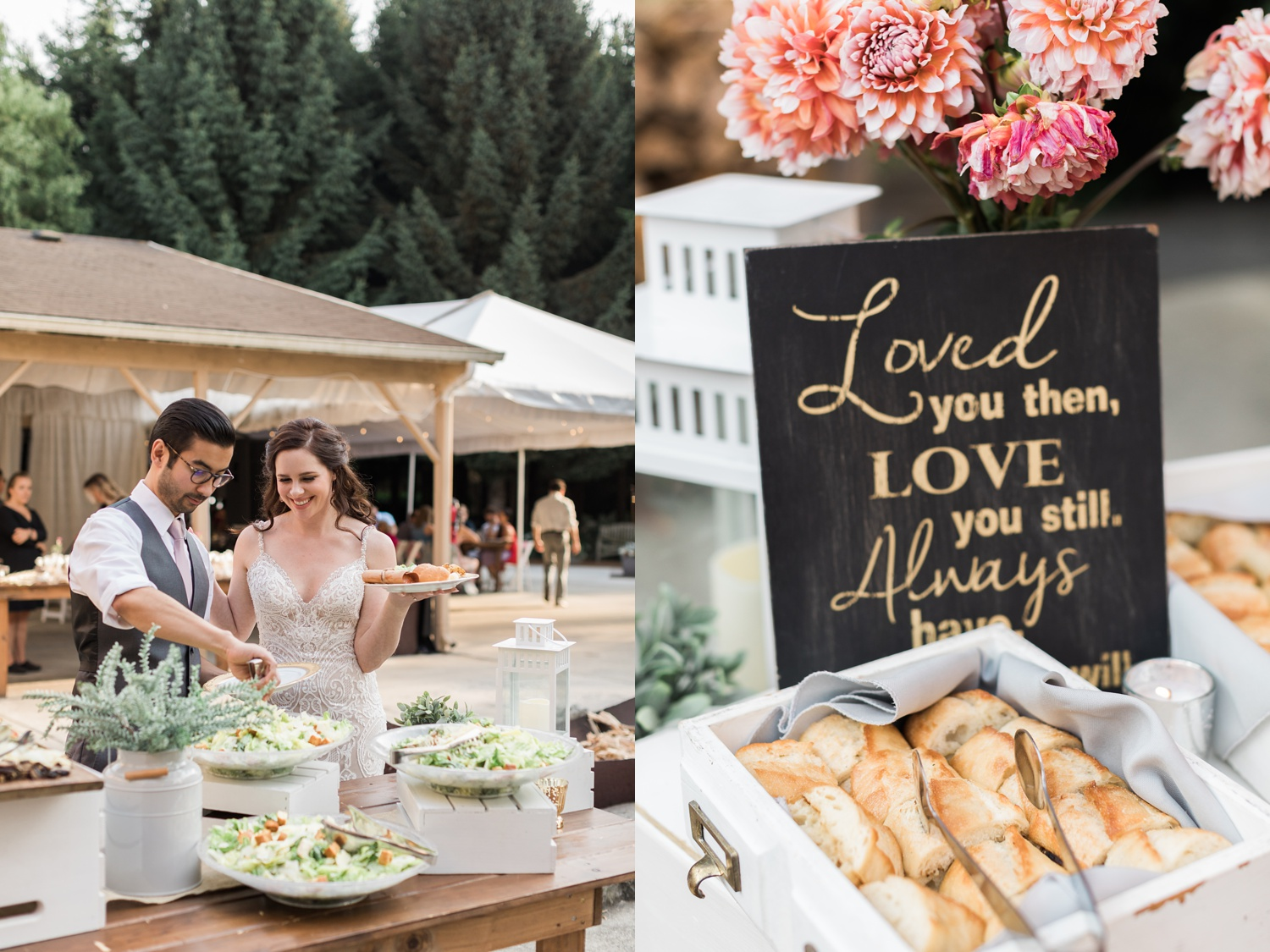 A bride and groom serve themselves dinner during their wedding reception at Woodland Meadow Farms in Snohomish, a wedding venue near Seattle, WA. | Joanna Monger Photography | Seattle & Snohomish Photographer