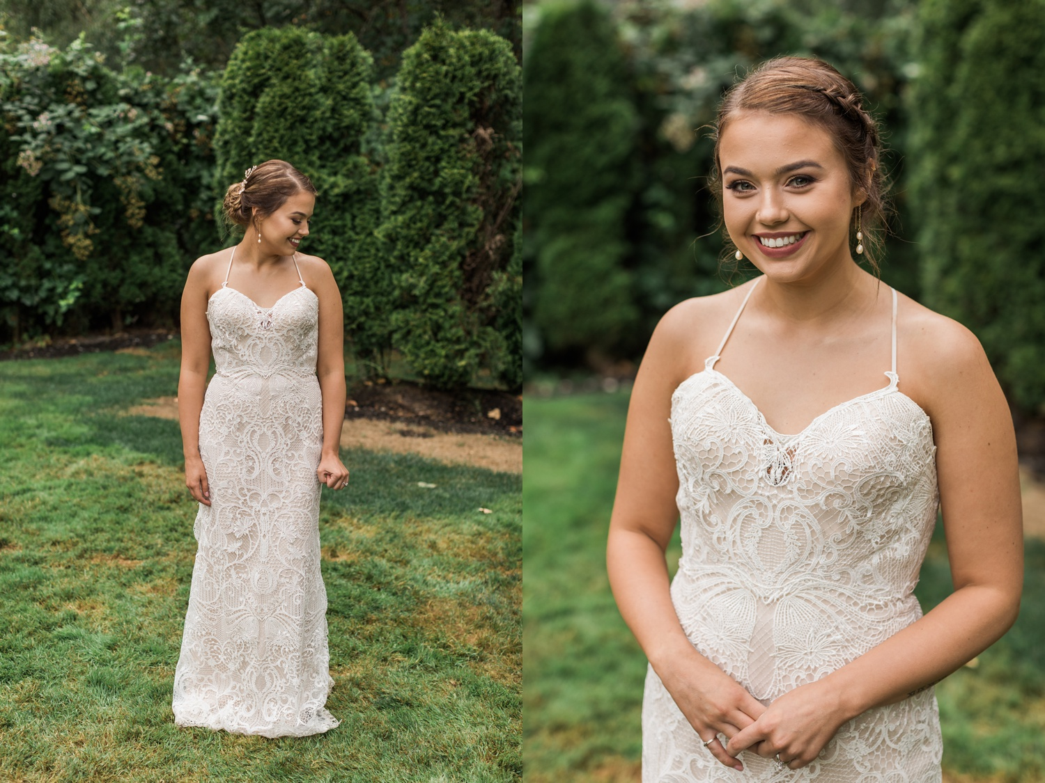 A bride smiles at the camera before her summer wedding at Maroni Meadows in Snohomish, a wedding venue near Seattle, WA. | Joanna Monger Photography | Seattle & Snohomish Photographer