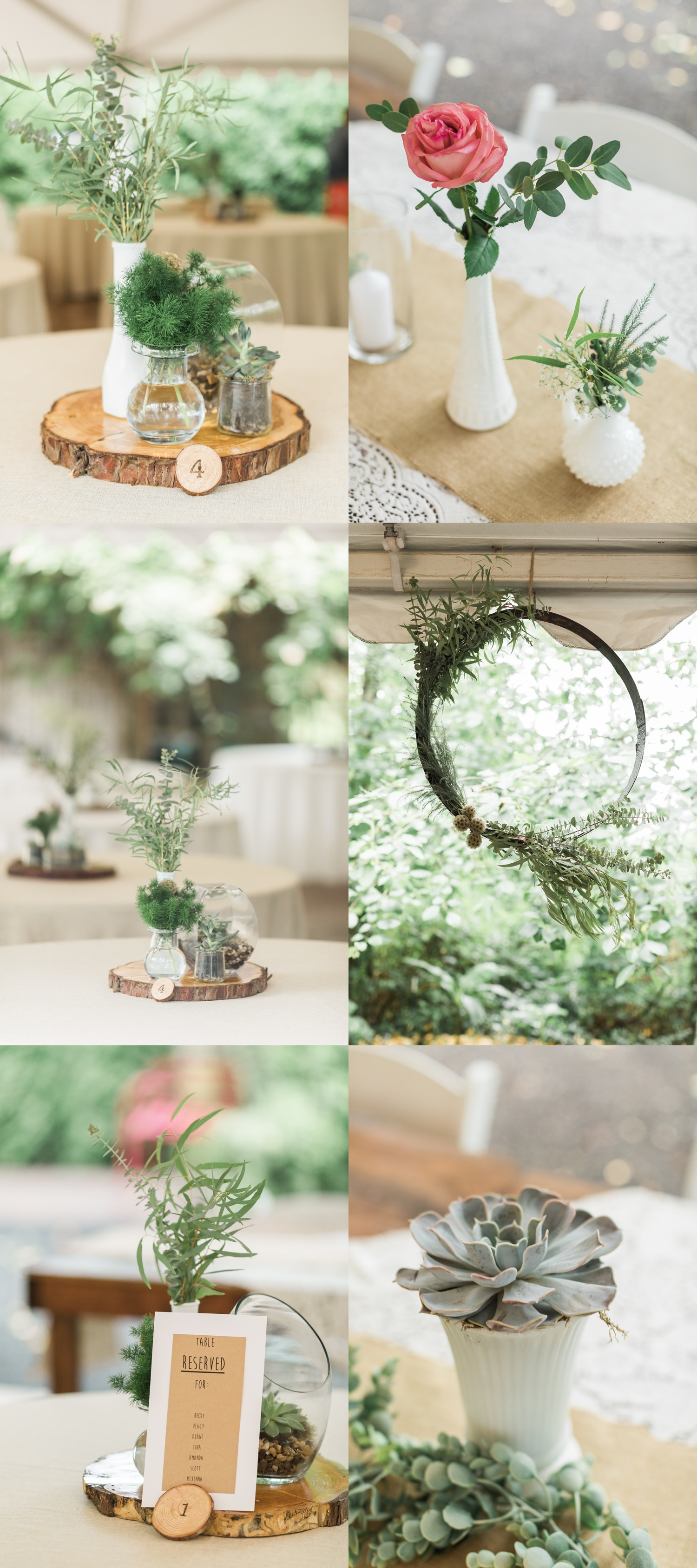 Beautiful rustic decor and centerpieces for a summer wedding at Maroni Meadows in Snohomish, a wedding venue near Seattle, WA. | Joanna Monger Photography | Seattle & Snohomish Photographer