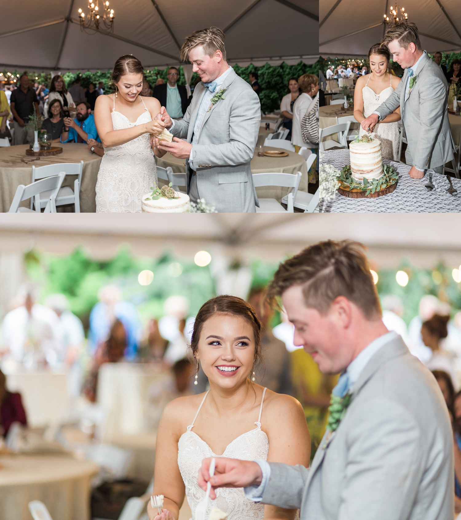 A bride and groom cut their wedding cake during a reception for a summer wedding at Maroni Meadows in Snohomish, a wedding venue near Seattle, WA. | Joanna Monger Photography | Seattle & Snohomish Photographer