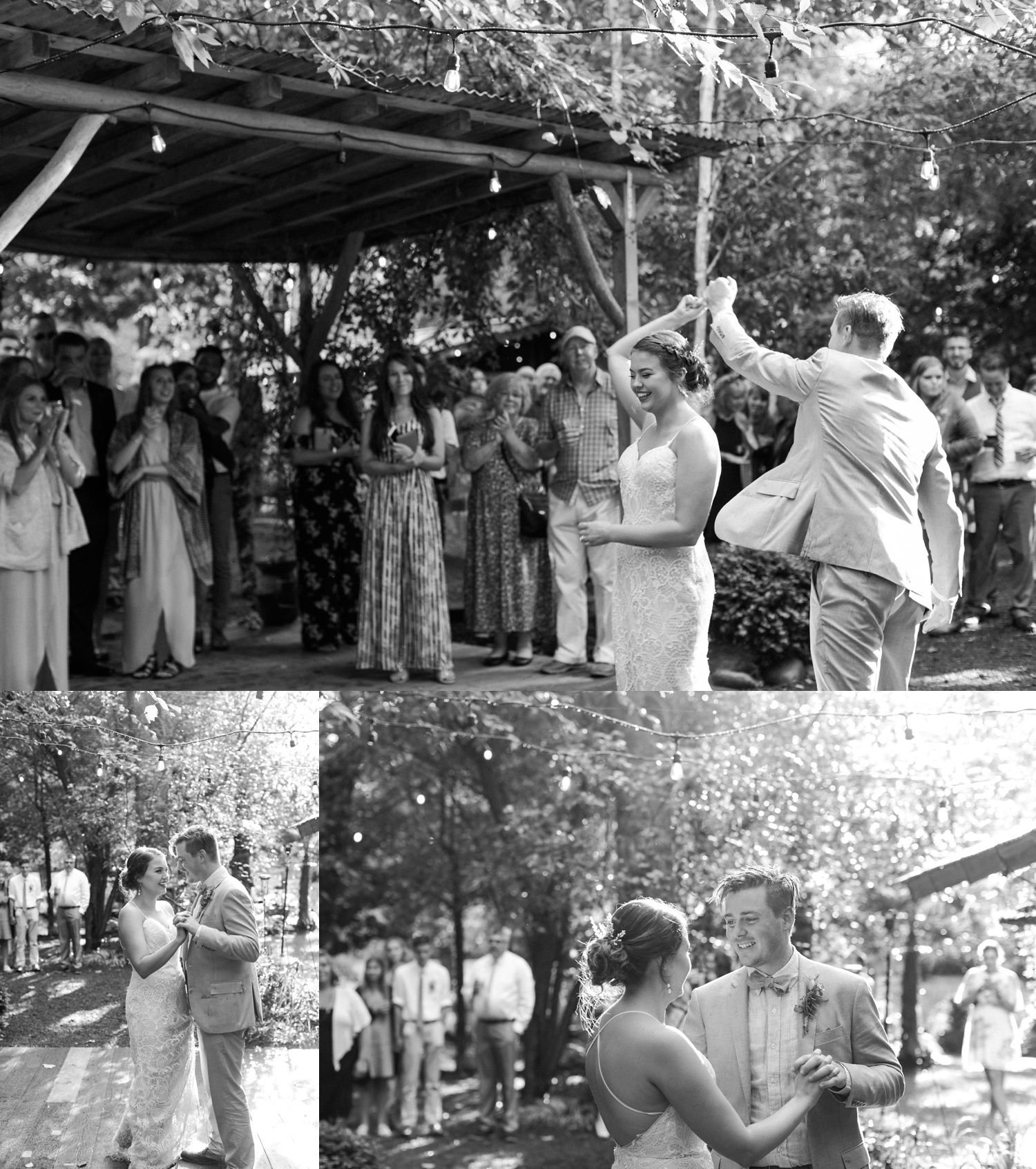 A black-and-white photo of a bride and groom sharing their first dance during a summer wedding at Maroni Meadows in Snohomish, a wedding venue near Seattle, WA. | Joanna Monger Photography | Seattle & Snohomish Photographer