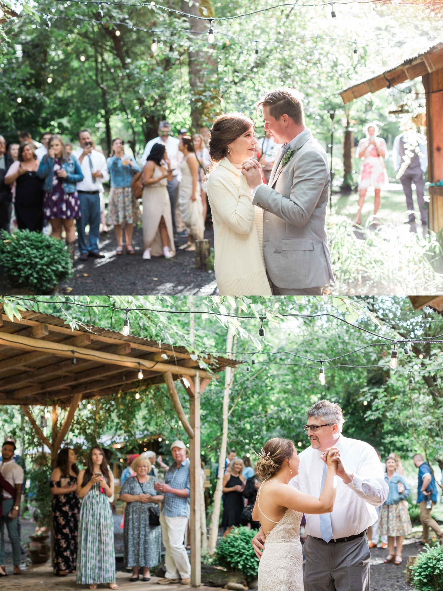 A bride and groom dancing with loved ones during their reception at a summer wedding at Maroni Meadows in Snohomish, a wedding venue near Seattle, WA. | Joanna Monger Photography | Seattle & Snohomish Photographer