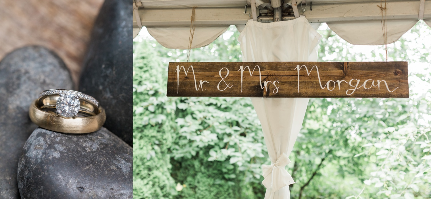 A handmade wood sign welcoming a newlywed couple after their summer wedding at Maroni Meadows in Snohomish, a wedding venue near Seattle, WA. | Joanna Monger Photography | Seattle & Snohomish Photographer