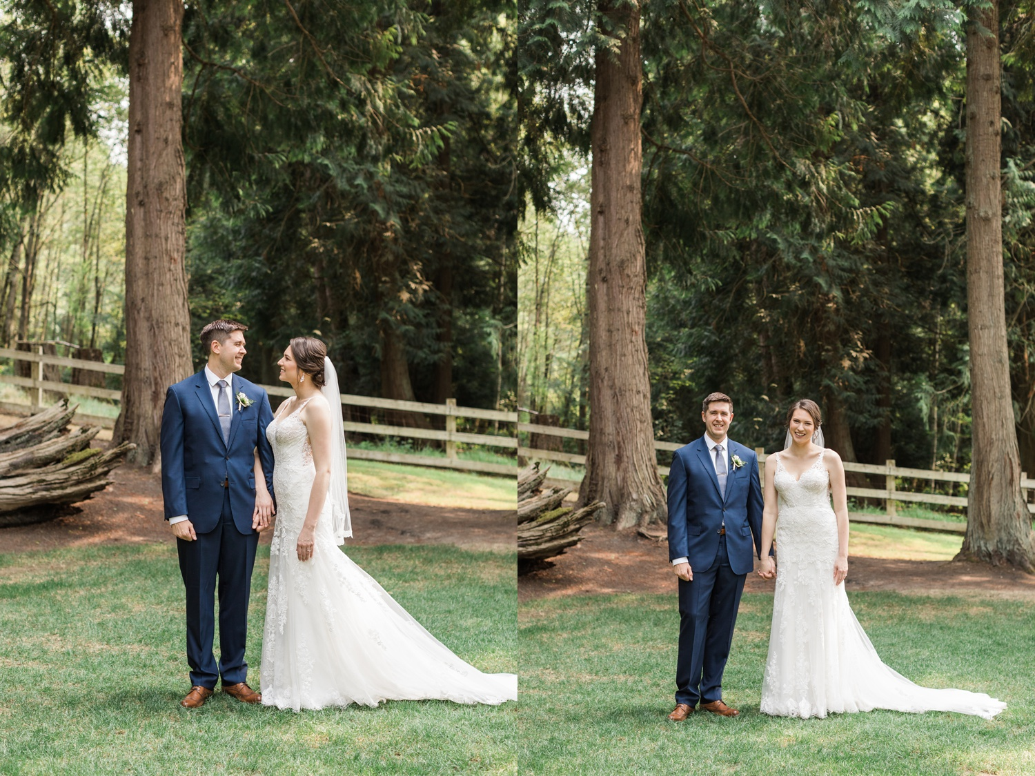 A bride and groom stand outdoors before their wedding at Chateau Lill in Woodinville, a wedding venue near Seattle, WA.   Joanna Monger Photography   Seattle & Snohomish Photographer