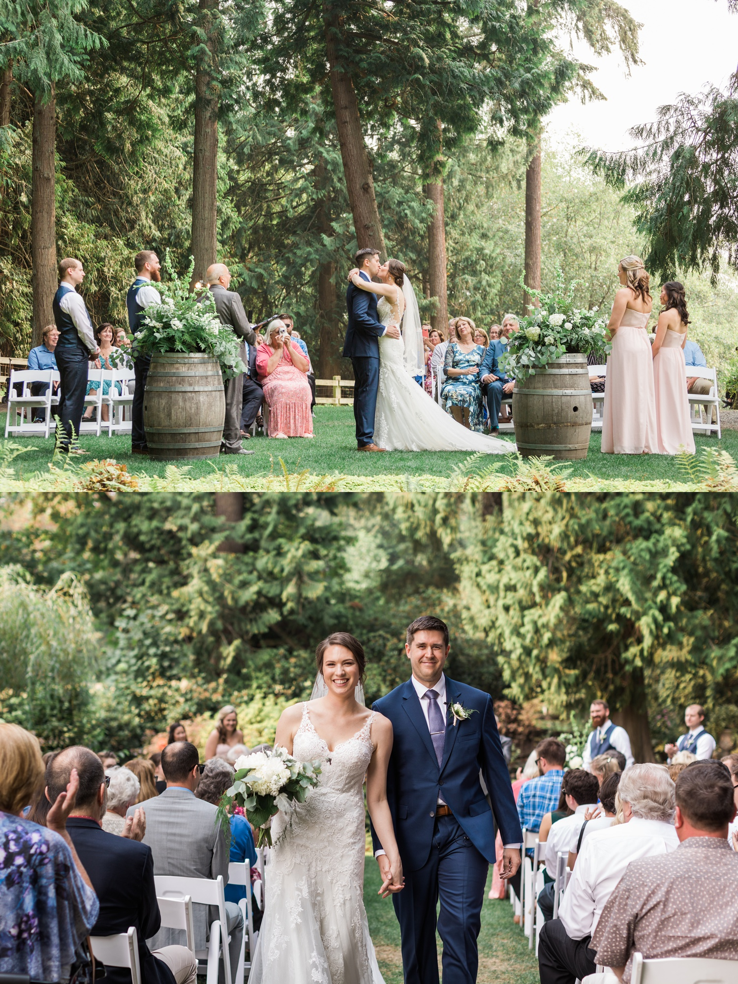 A bride and groom kiss during their outdoor wedding ceremony at Chateau Lill in Woodinville, a wedding venue near Seattle, WA. | Joanna Monger Photography | Seattle & Snohomish Photographer