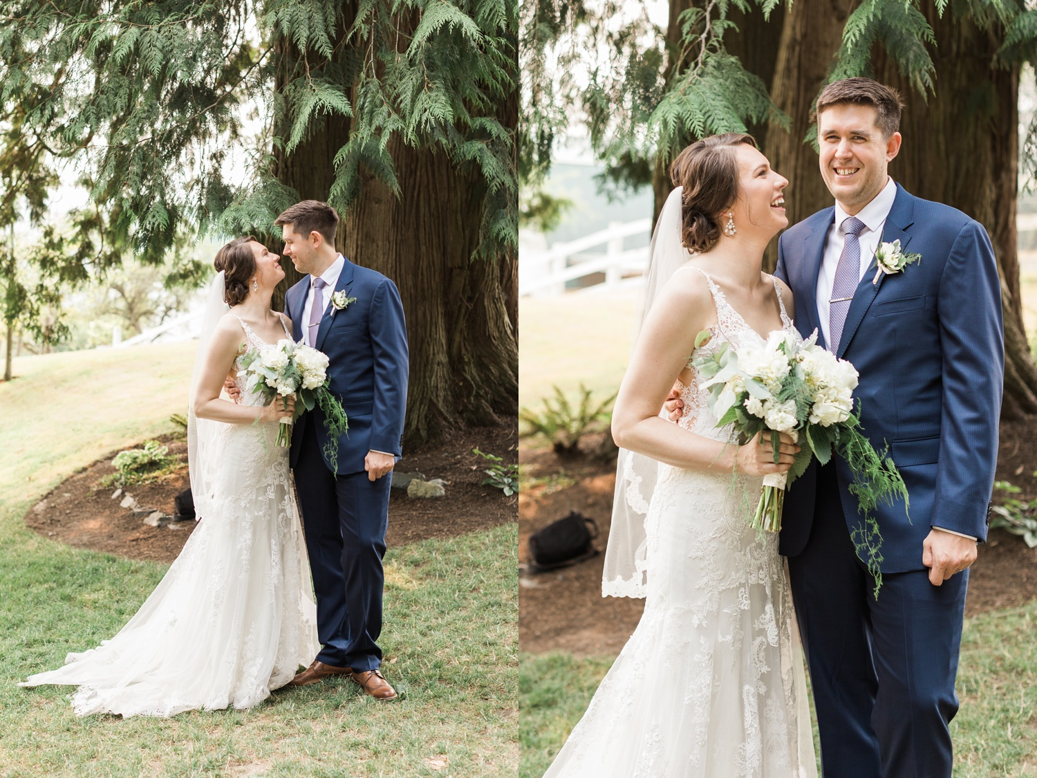 A bride and groom lovingly gaze at each other before their outdoor wedding at Chateau Lill in Woodinville, a wedding venue near Seattle, WA. | Joanna Monger Photography | Seattle & Snohomish Photographer