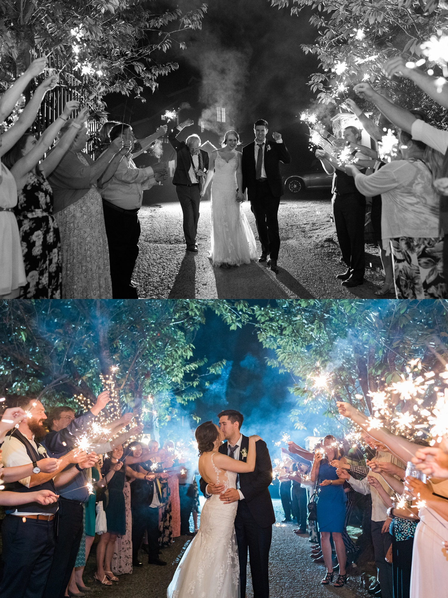 A bride and groom kiss during a sparkler send-off during a wedding at Chateau Lill in Woodinville, a wedding venue near Seattle, WA. | Joanna Monger Photography | Seattle & Snohomish Photographer