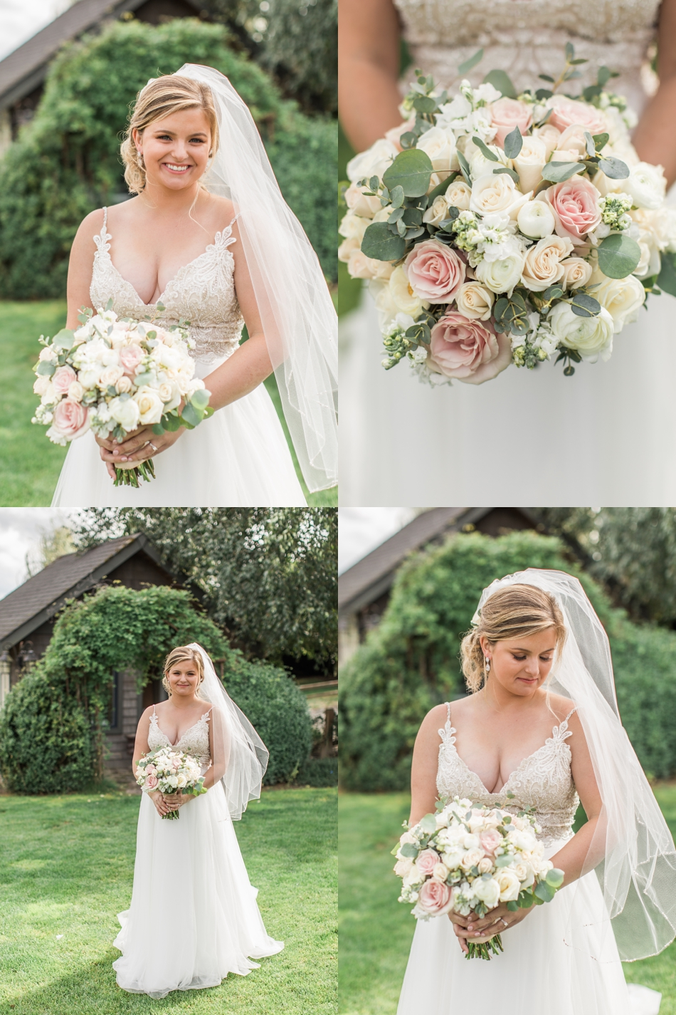 Photo of bride in dress with bouquet at a Hidden Meadows Farms wedding in Snohomish, a rustic yet elegant wedding venue near Seattle. | Joanna Monger Photography