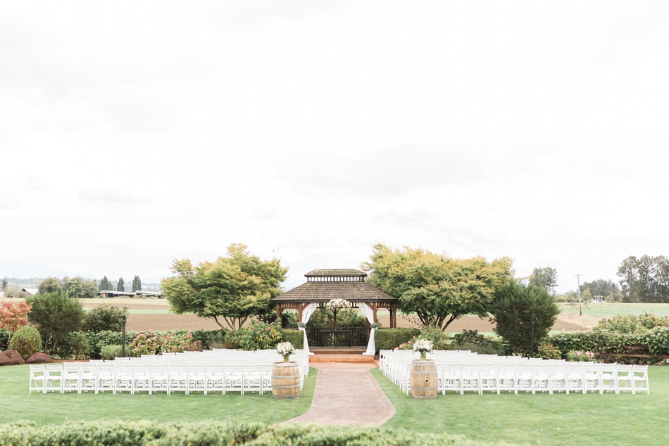 Photo of outdoor ceremony area at Hidden Meadows Farms wedding in Snohomish, a rustic yet elegant wedding venue near Seattle.   Joanna Monger Photography