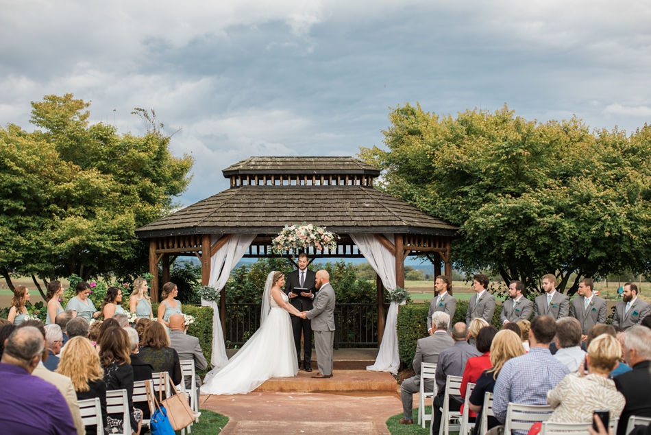 Photo of wedding ceremony at a Hidden Meadows Farms wedding in Snohomish, a rustic yet elegant wedding venue near Seattle. | Joanna Monger Photography