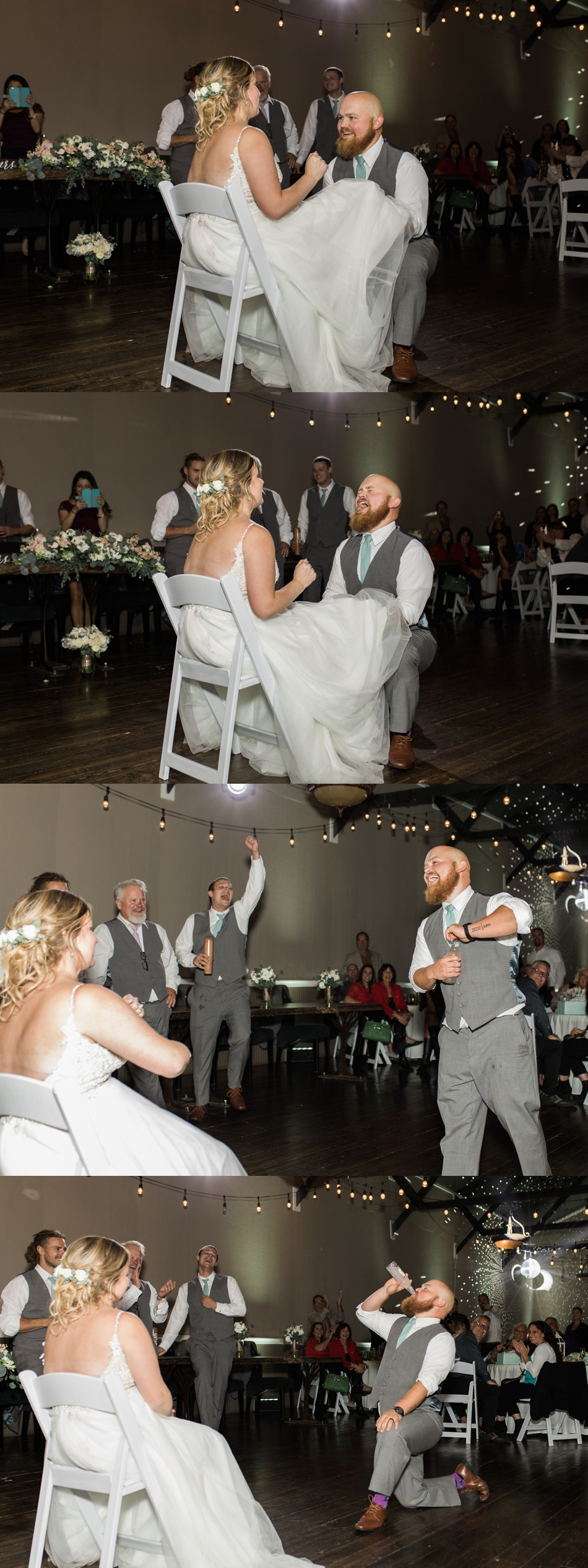 Photo of funny garter toss at a Hidden Meadows Farms wedding in Snohomish, a rustic yet elegant wedding venue near Seattle.   Joanna Monger Photography