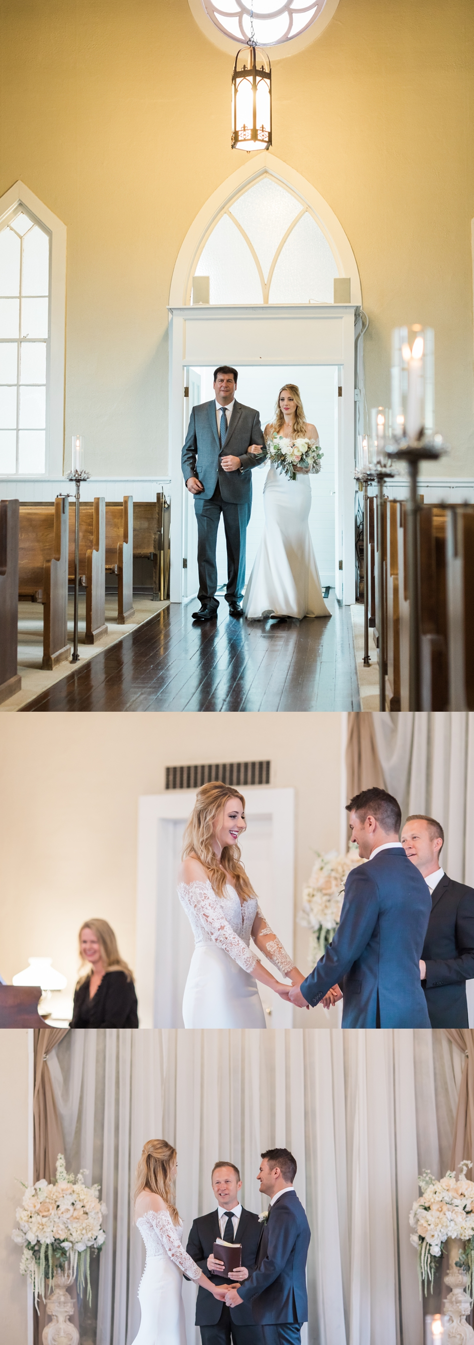 Photo of a father walking his daughter down the aisle at her intimate wedding at Belle Chapel in Snohomish, a wedding venue near Seattle. | Joanna Monger Photography | Snohomish & Seattle Photographer