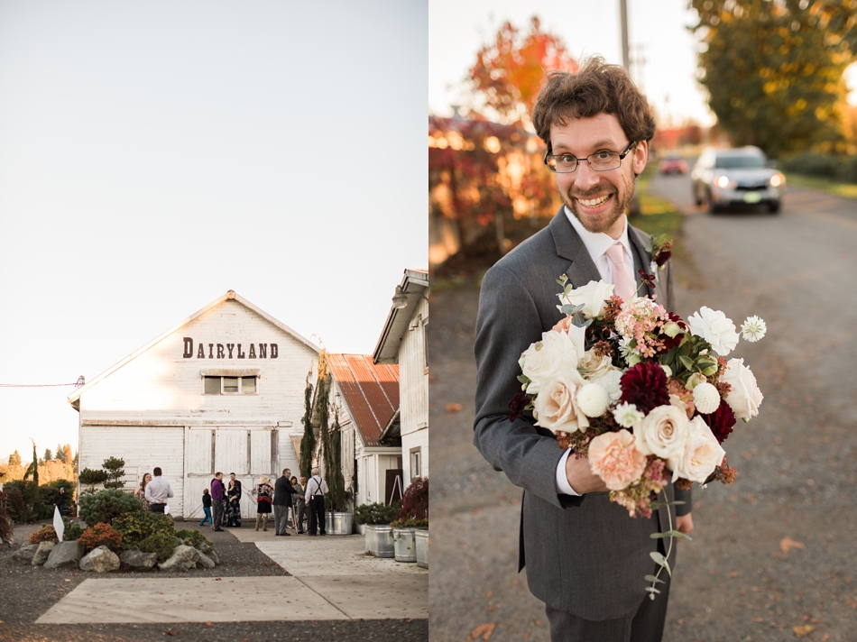 Photo of groom holding flowers at Snohomish Wedding Venue Dairyland Barn near Seattle | Joanna Monger Photography
