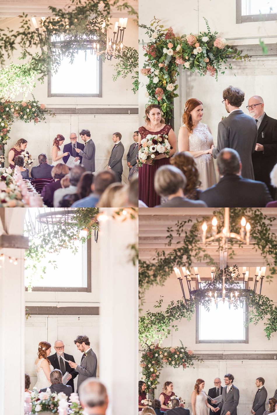Photo of wedding ceremony at Snohomish Wedding Venue Dairyland Barn near Seattle | Joanna Monger Photography