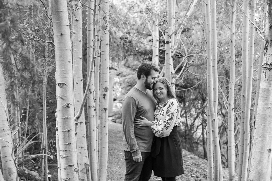 Engagement photos in the woods in the rain at Woodland Meadow Farms in Snohomish, WA