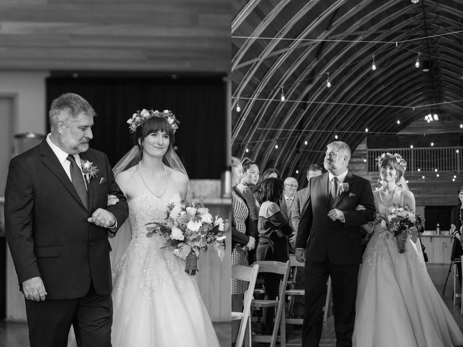 A photo of a bride walking down the aisle before her fall wedding at the Loft at Russell's in Bothell, a wedding venue near Seattle. | Joanna Monger Photography | Snohomish & Seattle Wedding Photographer