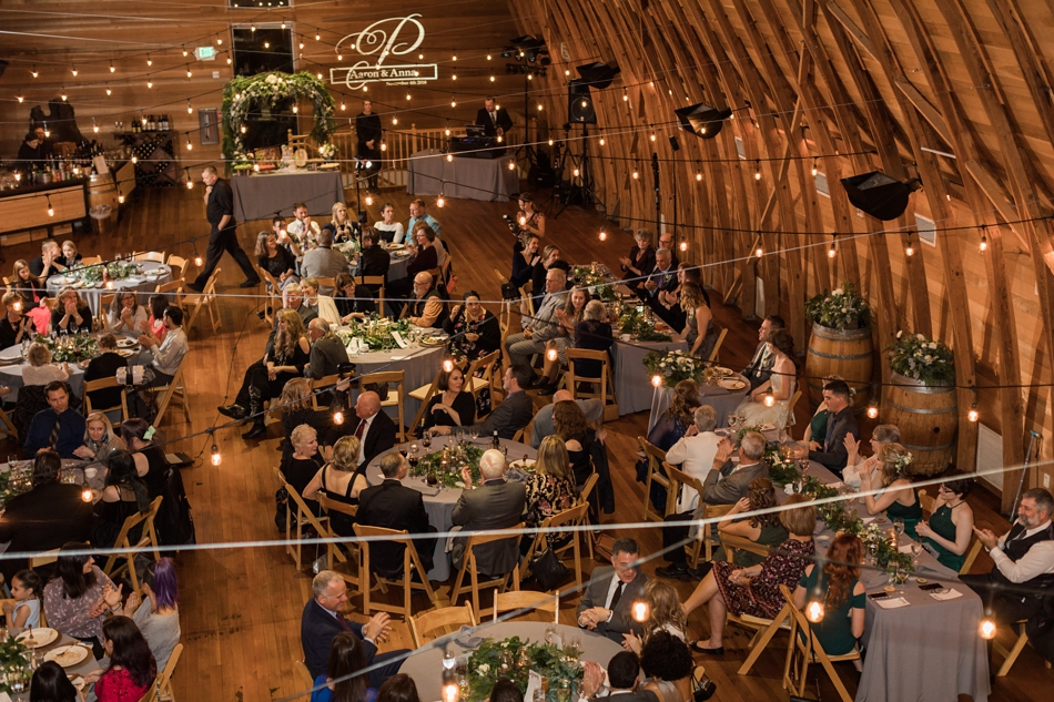 A birds eye view of the reception area during a fall wedding at the Loft at Russell's in Bothell, a wedding venue near Seattle. | Joanna Monger Photography | Snohomish & Seattle Wedding Photographer