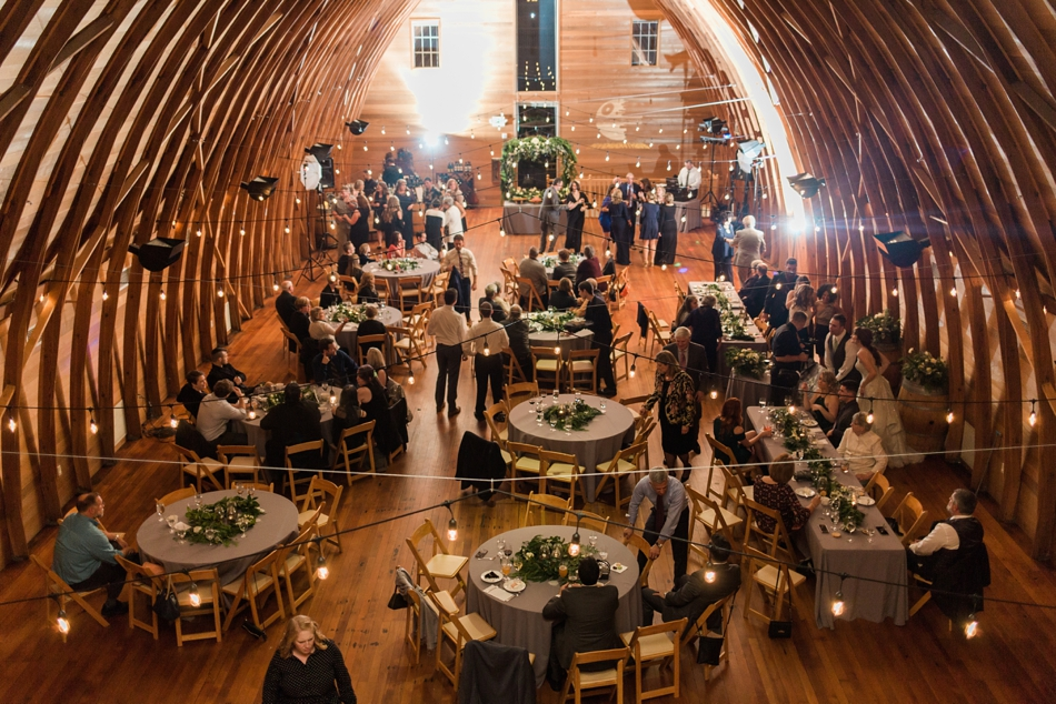 A birds eye view of the reception area of a fall wedding at the Loft at Russell's in Bothell, a wedding venue near Seattle. | Joanna Monger Photography | Snohomish & Seattle Wedding Photographer