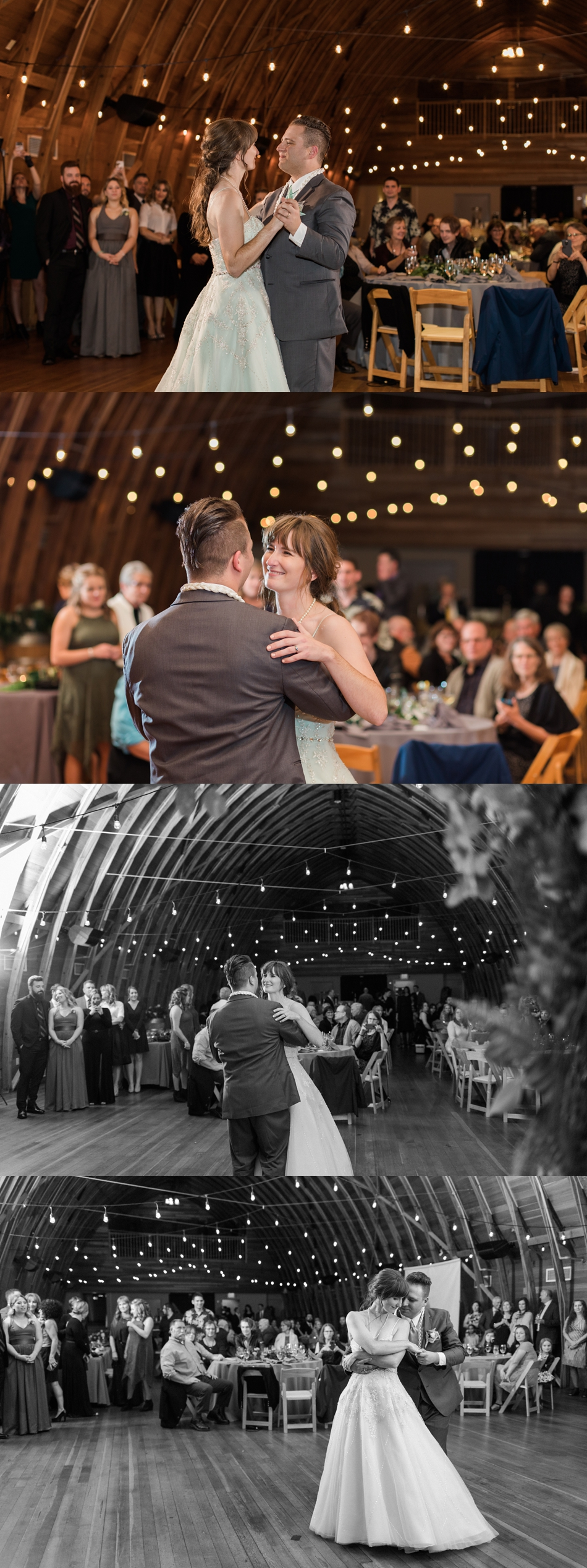 A photo of a bride and groom's first dance at a fall wedding at the Loft at Russell's in Bothell, a wedding venue near Seattle. | Joanna Monger Photography | Snohomish & Seattle Wedding Photographer