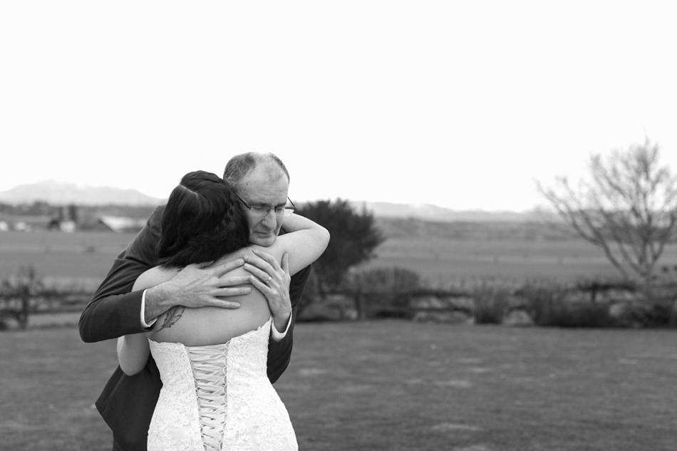 An emotional first look between a dad and his daughter before her winter wedding at Hidden Meadows in Snohomish, a wedding venue near Seattle, WA. | Joanna Monger Photography | Snohomish & Seattle Wedding Photographer