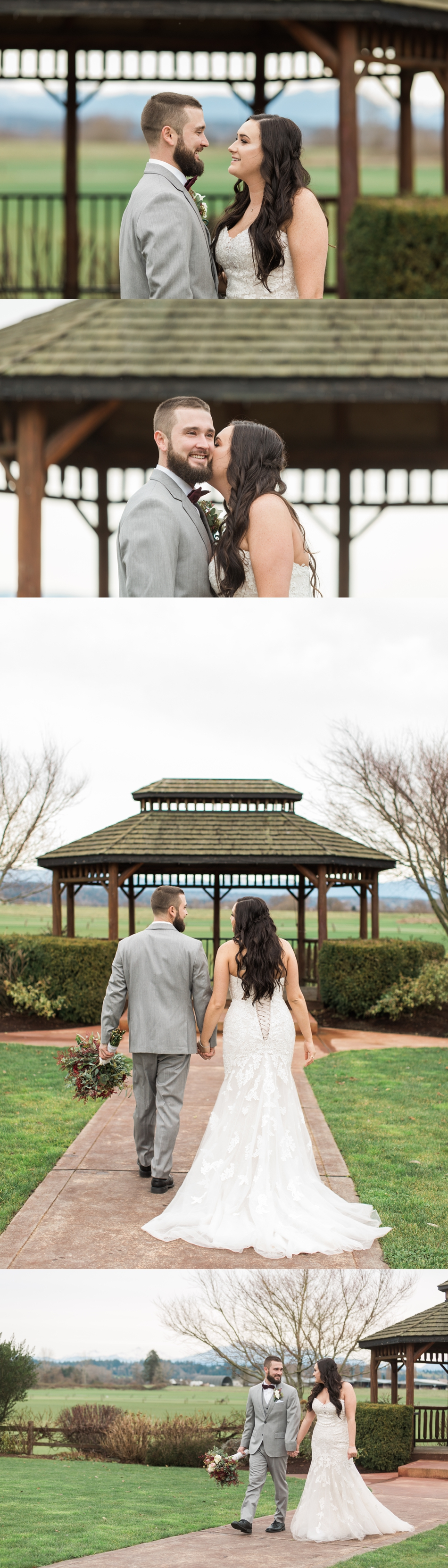 Photos of a bride and groom holding hands and kissing before their winter wedding at Hidden Meadows in Snohomish, a wedding venue near Seattle, WA. | Joanna Monger Photography | Snohomish & Seattle Wedding Photographer