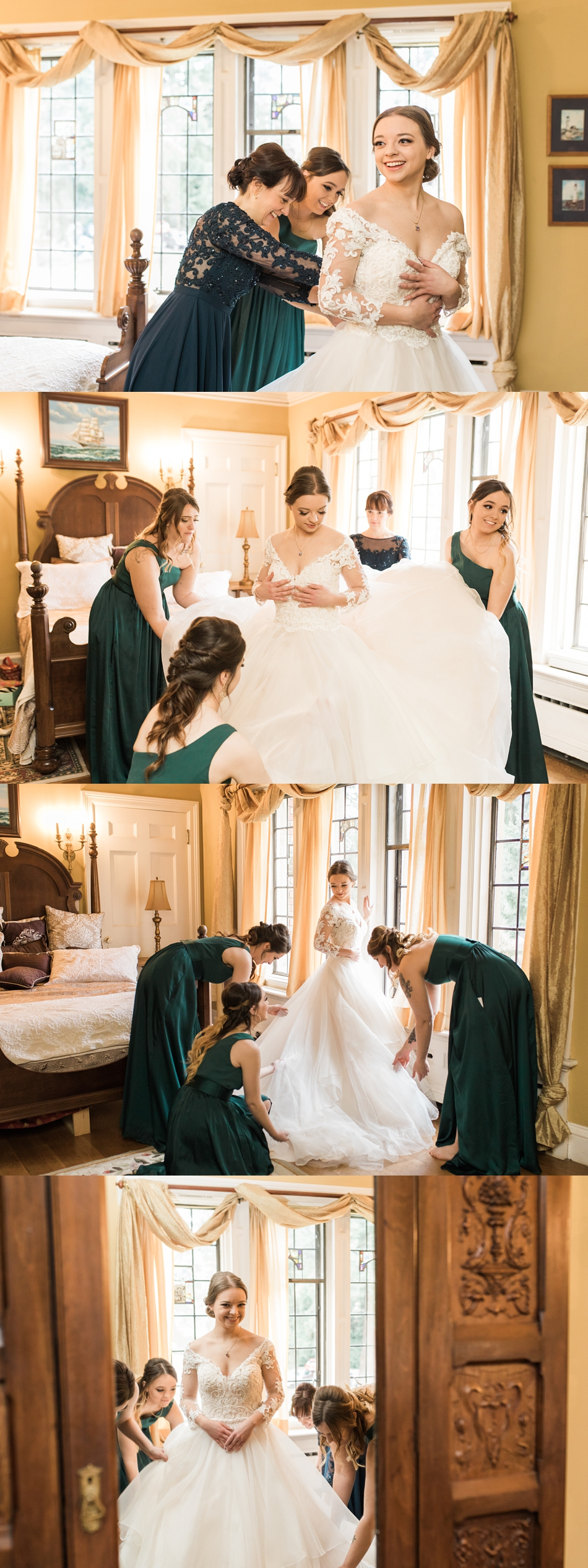 Bridesmaids help a bride get ready before her regal winter wedding at Thornewood Castle in Lakewood, a wedding venue near Seattle, WA. | Joanna Monger Photography | Seattle & Snohomish Wedding Photographer