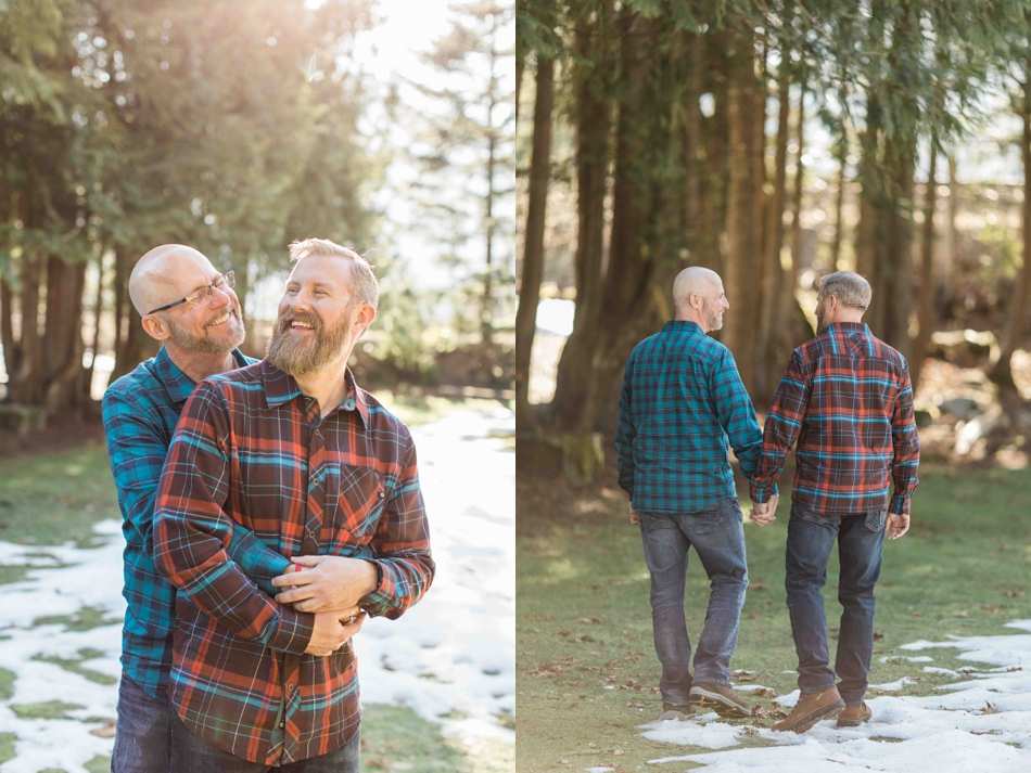 A engaged couple walks through a forest during their spring outdoor mountain engagement shoot in Snohomish, near Seattle, WA. | Joanna Monger Photography | Snohomish Wedding Photographer