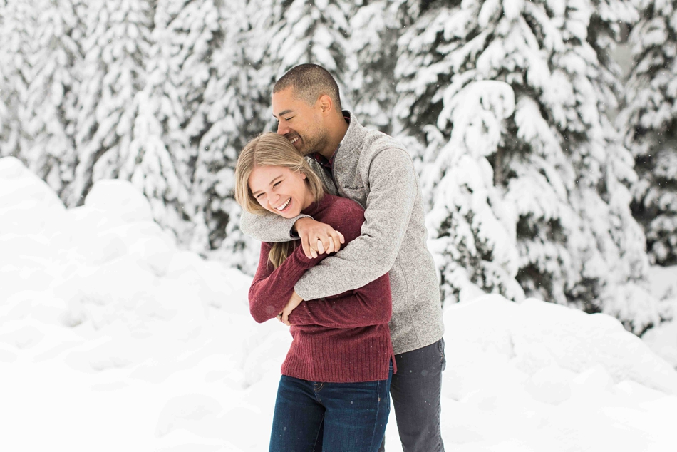 Snowy winter photograph from an engaged couple's photo shoot for their wedding at Twin Willows in Snohomish, a wedding venue near Seattle, WA. | Joanna Monger Photography | Snohomish Wedding Photographer