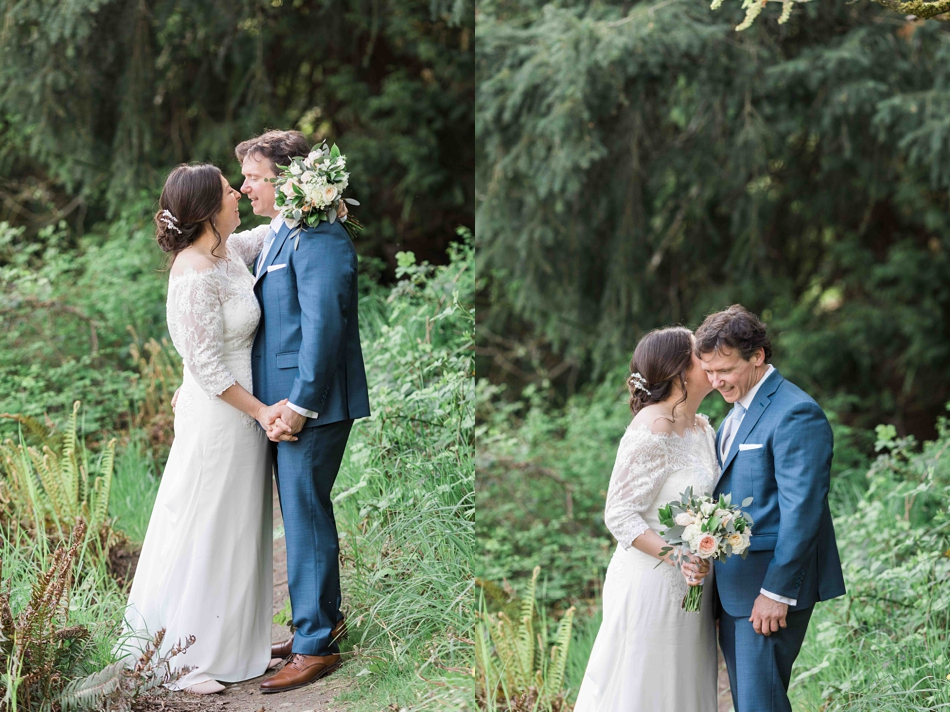 A photo of a bride and groom before their intimate wedding at Belle Chapel in Snohomish, a wedding venue near Seattle, WA.   Joanna Monger Photography   Snohomish Wedding Photographer