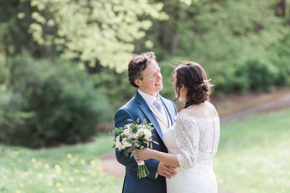 Outdoor photo of a bride and groom before their intimate wedding at Belle Chapel in Snohomish, a wedding venue near Seattle, WA.   Joanna Monger Photography   Snohomish Wedding Photographer