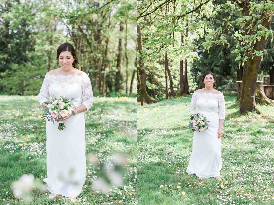 A bride in her wedding dress before her intimate wedding at Belle Chapel in Snohomish, a wedding venue near Seattle, WA. | Joanna Monger Photography | Snohomish Wedding Photographer