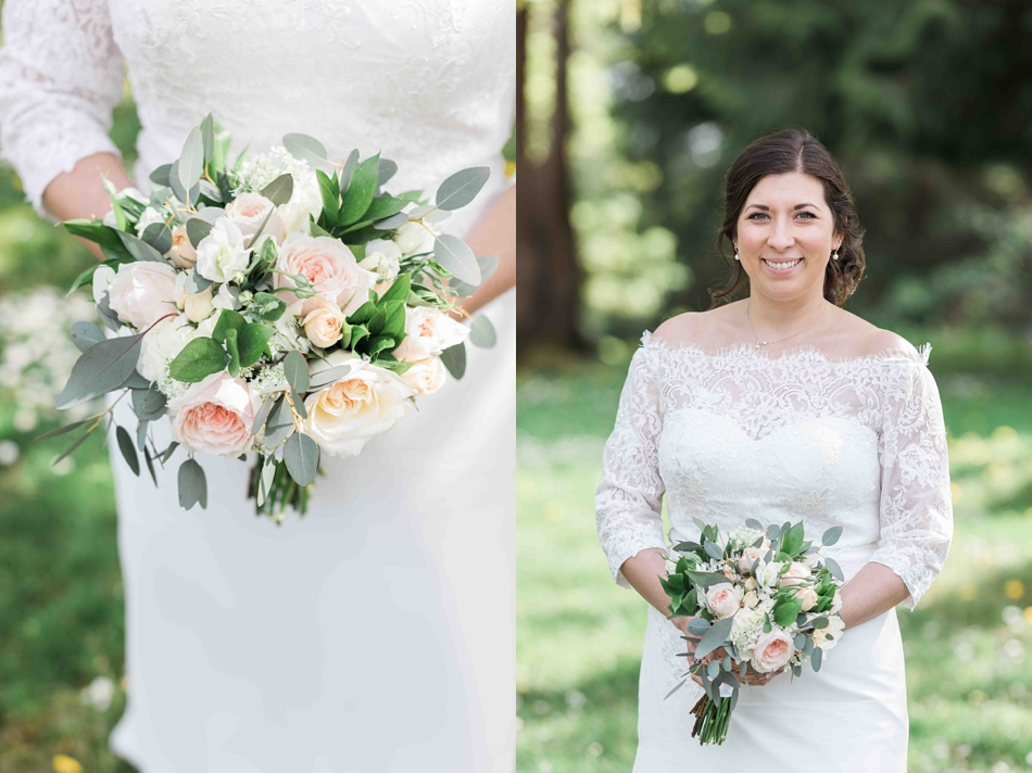 A bride and her bouquet before her intimate wedding at Belle Chapel in Snohomish, a wedding venue near Seattle, WA. | Joanna Monger Photography | Snohomish Wedding Photographer