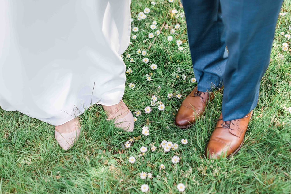 Photo of wedding shoes before an intimate wedding at Belle Chapel in Snohomish, a wedding venue near Seattle, WA. | Joanna Monger Photography | Snohomish Wedding Photographer