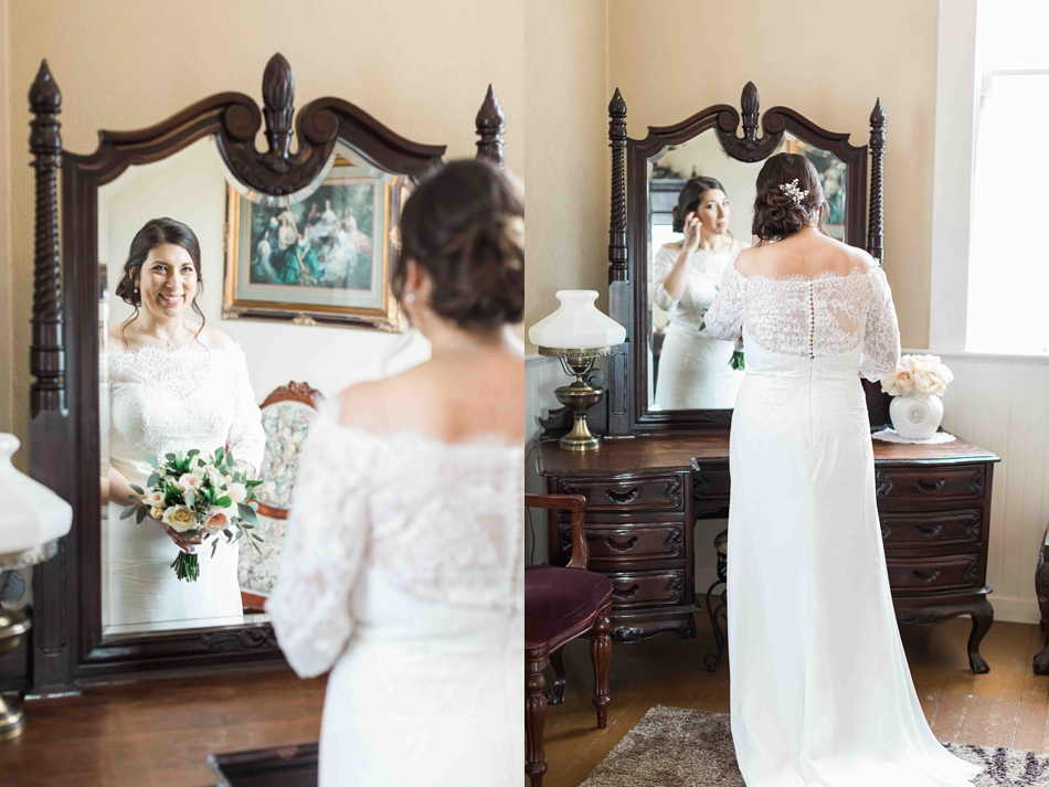 A bride gets ready before her intimate wedding at Belle Chapel in Snohomish, a wedding venue near Seattle, WA. | Joanna Monger Photography | Snohomish Wedding Photographer