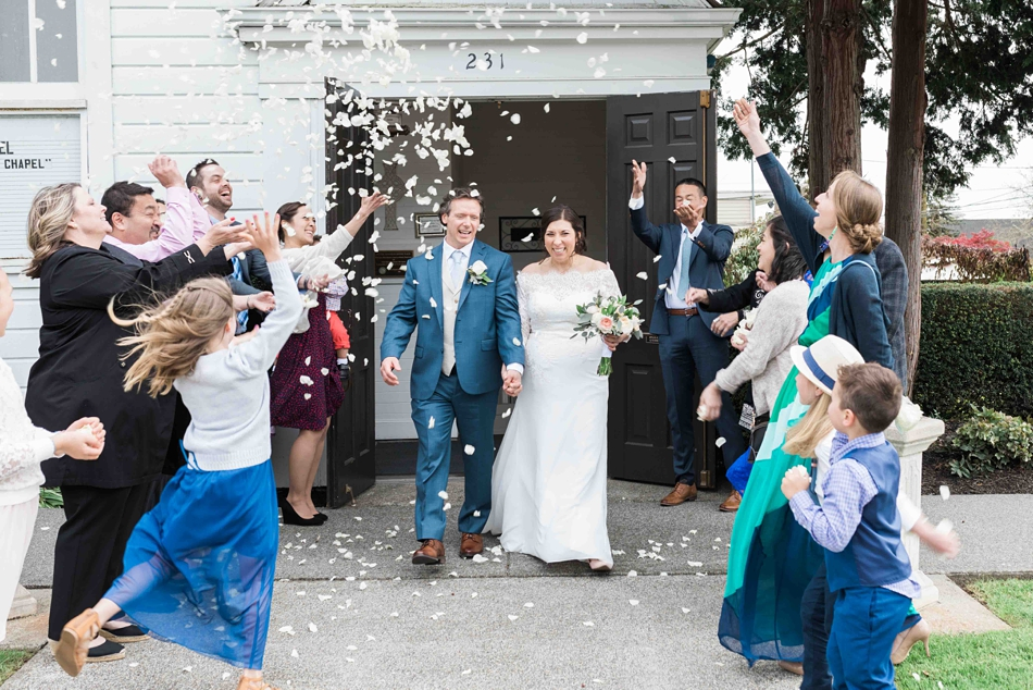 Photo of a bride and groom during the send-off after their intimate wedding at Belle Chapel in Snohomish, a wedding venue near Seattle, WA. | Joanna Monger Photography | Snohomish Wedding Photographer