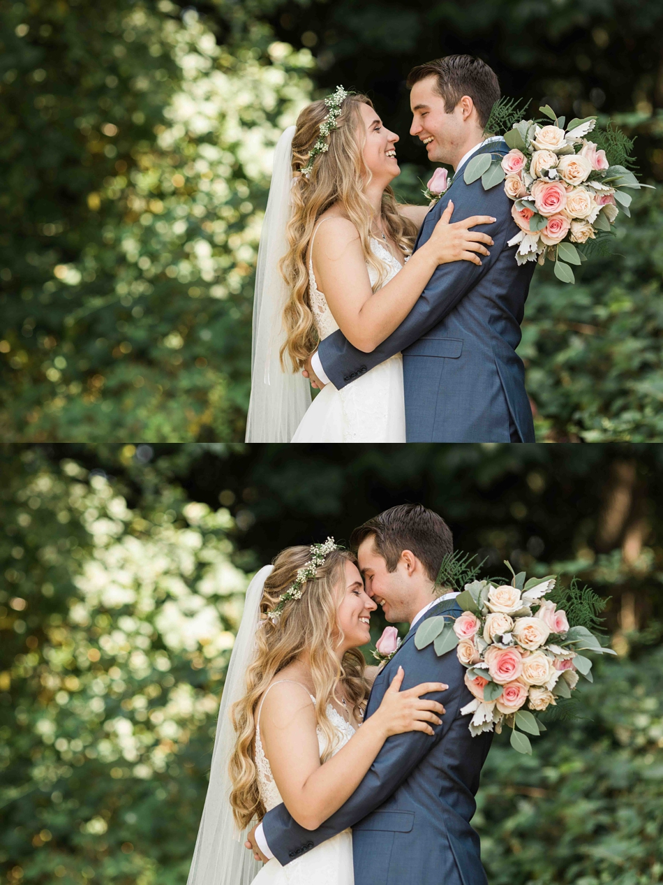 Holding each other at Twin Willow Gardens in Snohomish. Photos by Joanna Monger Photography, Snohomish and Seattle Wedding Photographer.