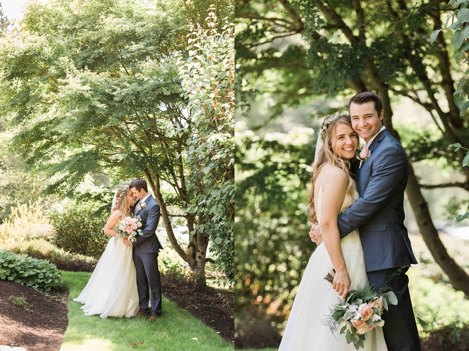 Kissing by the fence at Twin Willow Gardens in Snohomish. Photos by Joanna Monger Photography, Snohomish and Seattle Wedding Photographer.