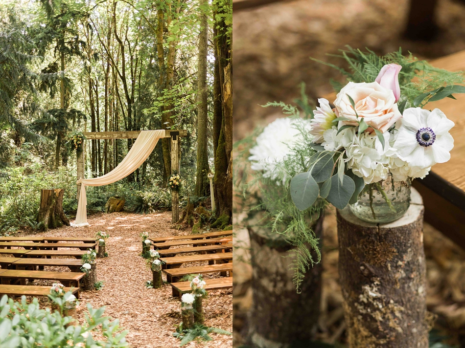 Flowers in the forest at Twin Willow Gardens in Snohomish. Photographs by Joanna Monger Photography, Award Winning Snohomish Wedding Photographer.