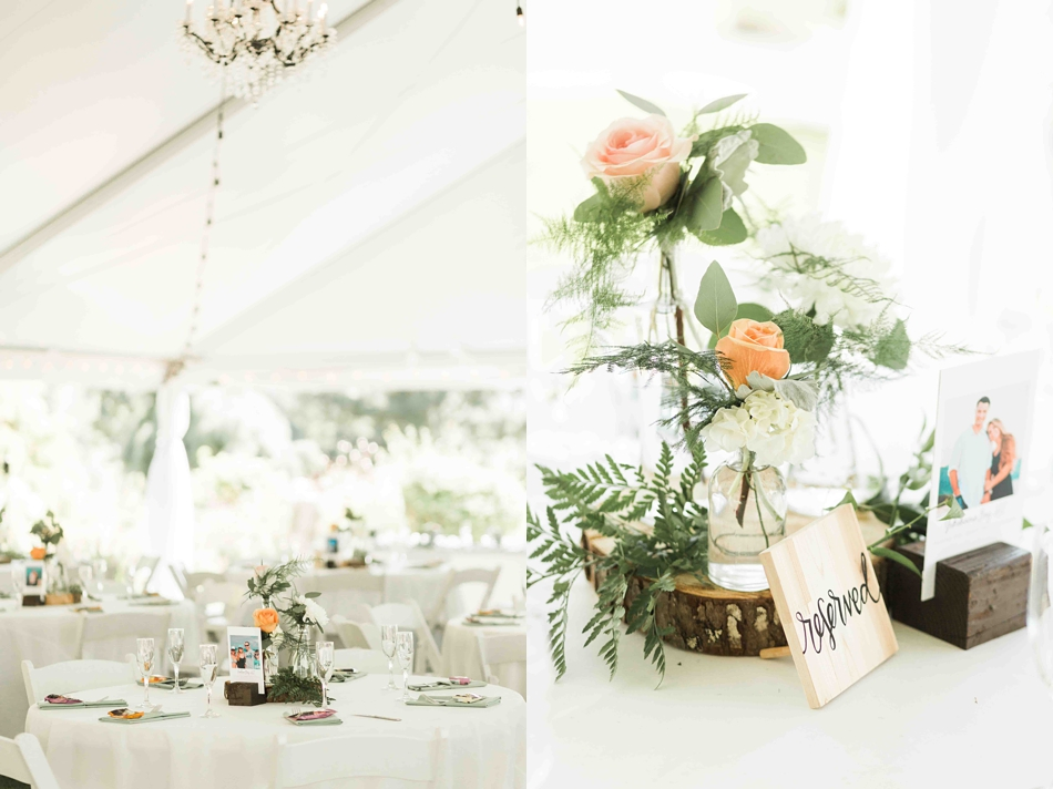 Pretty table decorations at Twin Willow Gardens in Snohomish. Photographs by Joanna Monger Photography, Award Winning Snohomish Wedding Photographer.