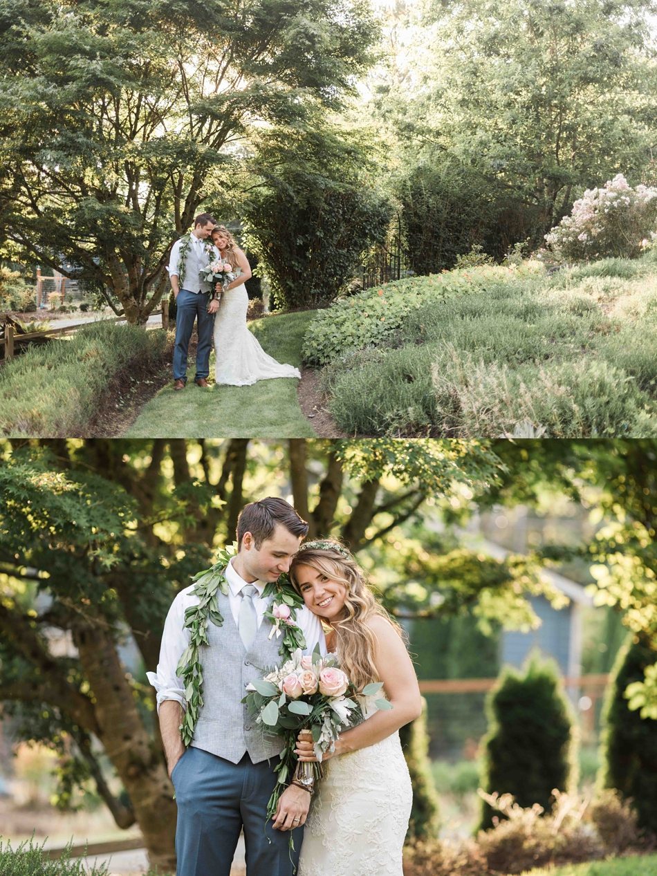 A tender moment at Twin Willow Gardens in Snohomish. Photos by Joanna Monger Photography, Snohomish and Woodinville Wedding Photographer.
