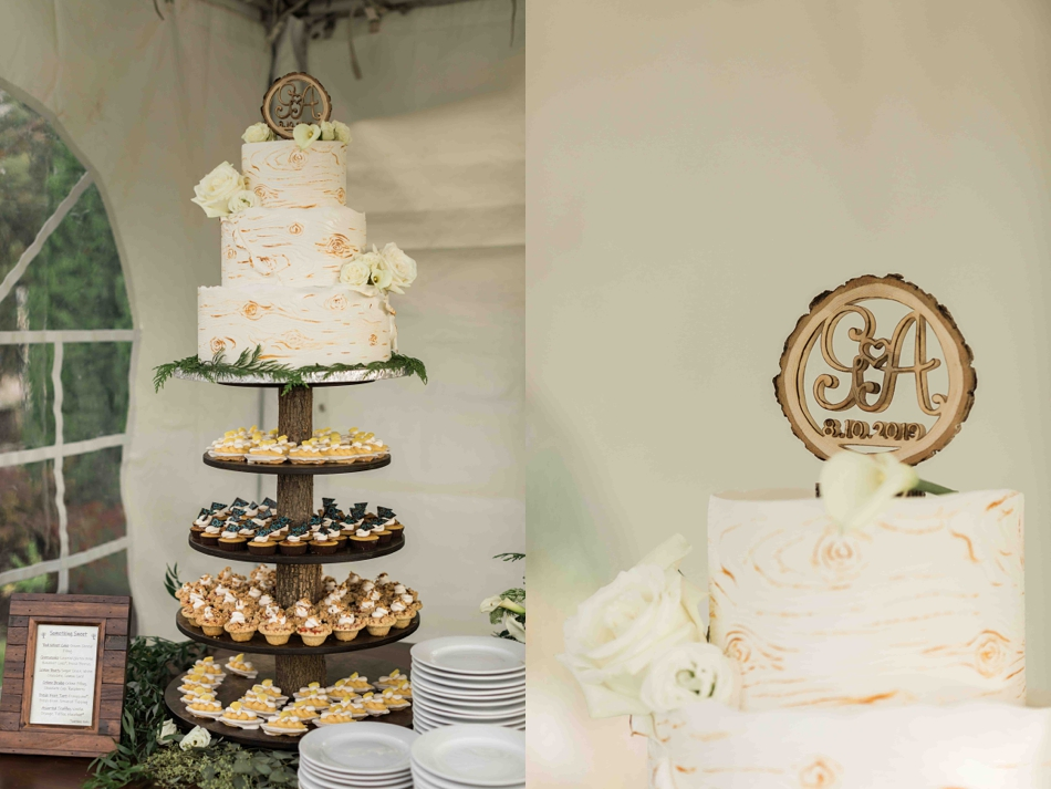 The wedding cake at Falling Water Gardens in Monroe. Photos by Joanna Monger Photography, Snohomish and Seattle Wedding Photographer.