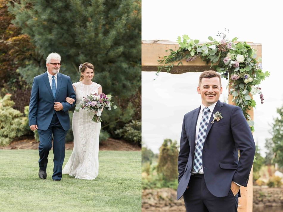 Bride and father walk at Pine Creek Nursery in Monroe. Photos by Joanna Monger Photography, Snohomish and Seattle Wedding Photographer.